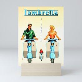 Vintage Lambretta Motor Scooter 'Security' Advertisement Poster Mini Art Print