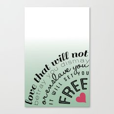 Love will set you free Canvas Print