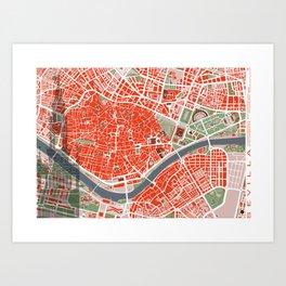 Seville city map classic Art Print