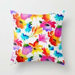 Dancing Floral Throw Pillow