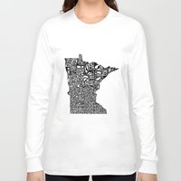 minnesota Long Sleeve T-shirts featuring Typographic Minnesota by CAPow!