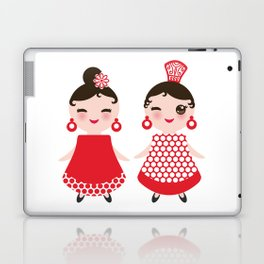 Spanish Woman flamenco dancer. Kawaii cute face with pink cheeks and winking eyes. Gipsy girl Laptop & iPad Skin