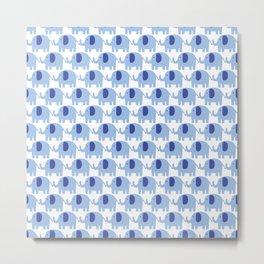 Baby Boy - Animal Pattern - Blue Elephant Metal Print