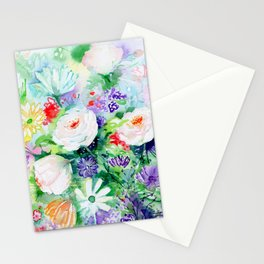"""Watercolor Painting """"Good Mood Flowers Stationery Cards"""