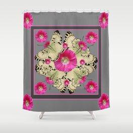 CHARCOAL GREY PINK FLOWERS YELLOW BUTTERFLIES Shower Curtain