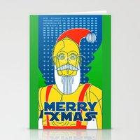 c3po Stationery Cards featuring Santa C3PO by Xenia Pirovskikh