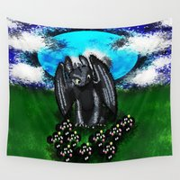 toothless Wall Tapestries featuring Curious Toothless  by grapeloverarts