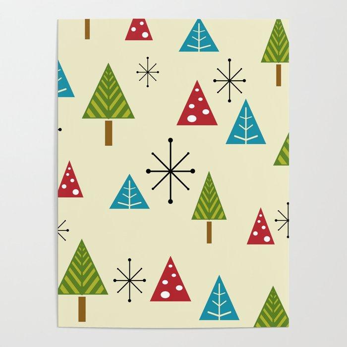 Mid Century Modern Christmas Tree.Mid Century Modern Christmas Trees Poster By Zennykenny