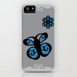 Swirly Butterfly and Flower Design Black, Grey, Blue Color Splash iPhone Case