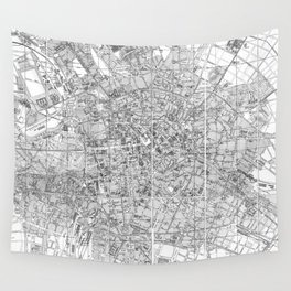 Vintage Map of Berlin Germany (1877) BW Wall Tapestry