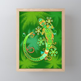 Gecko Lizard Colorful Tattoo Style Framed Mini Art Print