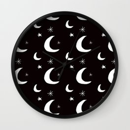 Night Sky Sketch in Black + White Wall Clock