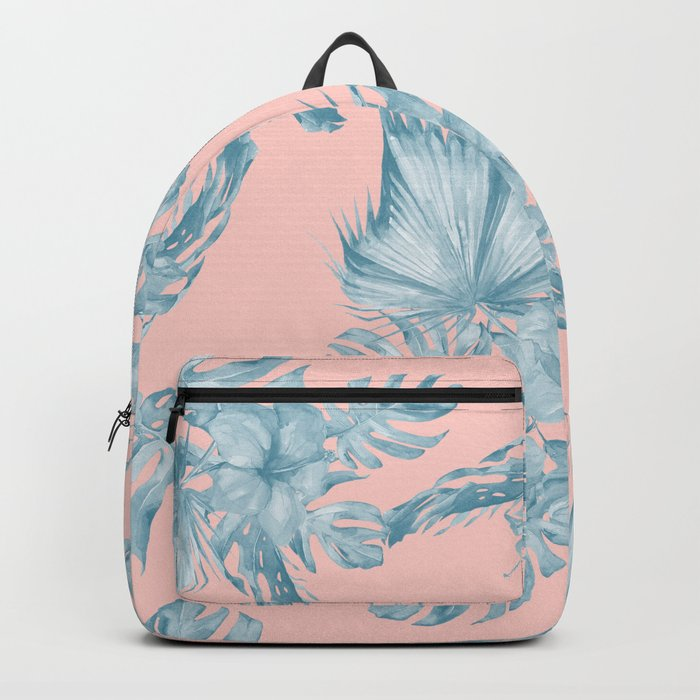 Dreaming of Hawaii Pale Teal Blue on Millennial Pink Backpack