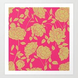 Hot Pink Floral Art Print