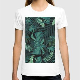 Tropical Jungle Night Leaves Pattern #1 #tropical #decor #art #society6 T-shirt