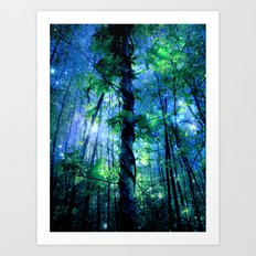 Forest of the Fairies Blue Night Art Print