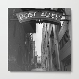 Post Alley in Seattle Washington - Black and White Metal Print