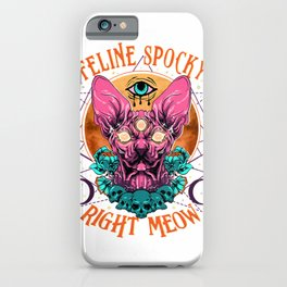 Spooky Hairless Sphynx Cat Art for Horror Movie Lovers T-Shirt iPhone Case