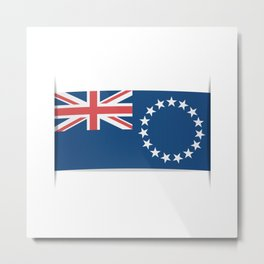 Flag of Cook Islands. The slit in the paper with shadows. Metal Print