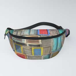 Colorful Shutters Beach Building Fanny Pack
