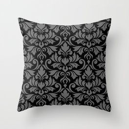 Flourish Damask Big Ptn Gray on Black Throw Pillow