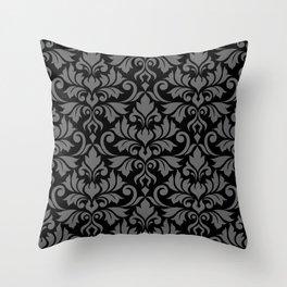 Flourish Damask Big Ptn Gray on Black Throw Pillow