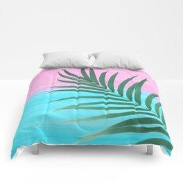 Dreamy Ocean View #1 #palm #pink #aqua #decor #art #society6 Comforters