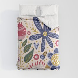 Cute, Festive, Flower Garden, Floral Prints, Pink and Blue Comforters