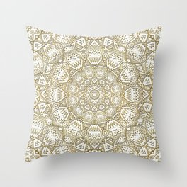 Golden Mandala in Cream Colored Background Throw Pillow