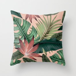 Tropical Monstera Swiss Cheese Plant Throw Pillow