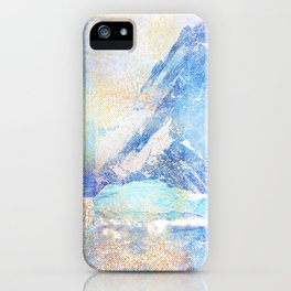 Blue Ice Mountains :: Fine Art Collage iPhone Case