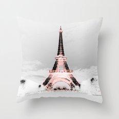 pariS Black & White + Pink Throw Pillow