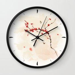 Oriental plum blossom in spring 001 Wall Clock
