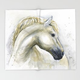 White Horse Watercolor Painting Animal Horses Throw Blanket