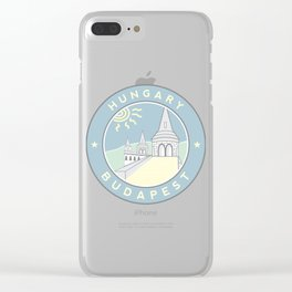 Budapest, Hungary, Fisherman's Bastion, circle blue Clear iPhone Case