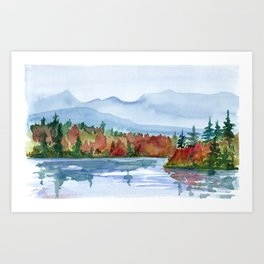 Mirror Lake in Autumn Art Print