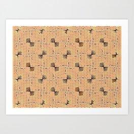 Golden Orange Brown Bowties Pattern Art Print