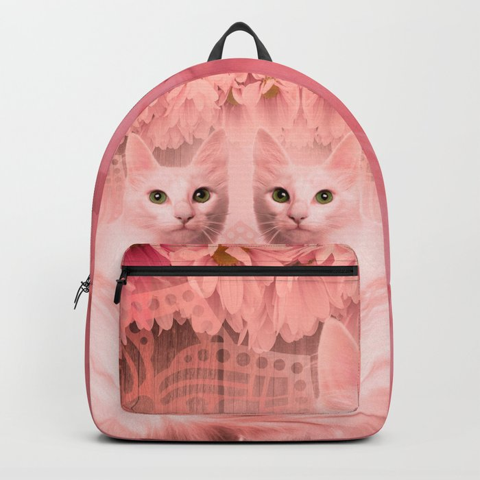 """""""Pink Pastel Doppelganger Cats at the Garden"""" Backpack"""