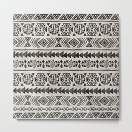Boho Tribal Black & Cream, Geometric Print, Ink Tribal Decor Metal Print