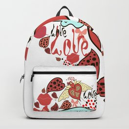 Wild red heart with love. Backpack