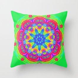 Amazing Day Neon Mandala Throw Pillow