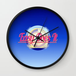 EASY DOES IT logo style Wall Clock