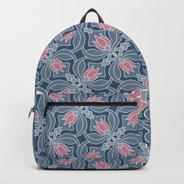 Pink tulips on gray background pattern Backpack