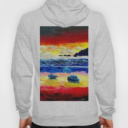 Twilight glow above dark mountains, Crimson Sea sunset around  small islets  of sirens Hoody