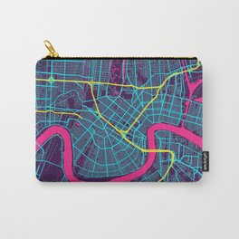 New Orleans Neon City Map, New Orleans Minimalist City Map Carry-All Pouch