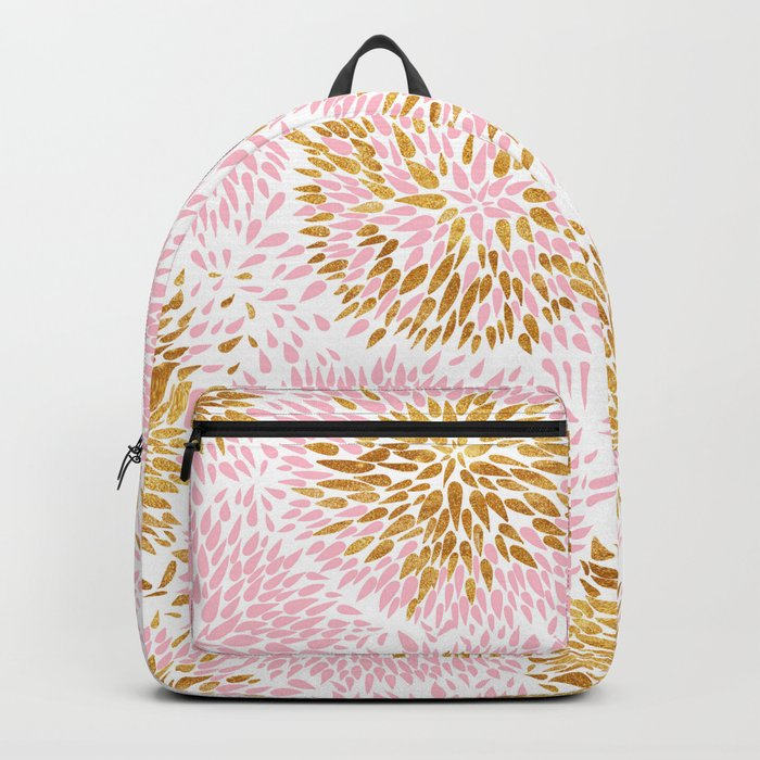 Abstract flowers pink and gold Backpack