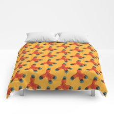 Orange Methane Molecule Comforters