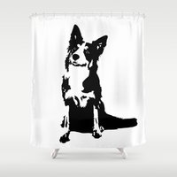 border collie Shower Curtains featuring Border Collie Art, Black White Art, Dog Breed Art, by MONOFACES
