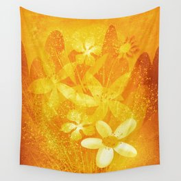 Summer Flowers and Hills Wall Tapestry