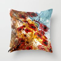 poppies Throw Pillows featuring Poppies by James Peart